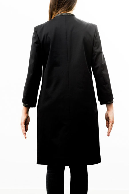 Bust-friendly coat for a ladies with a small height - back view.