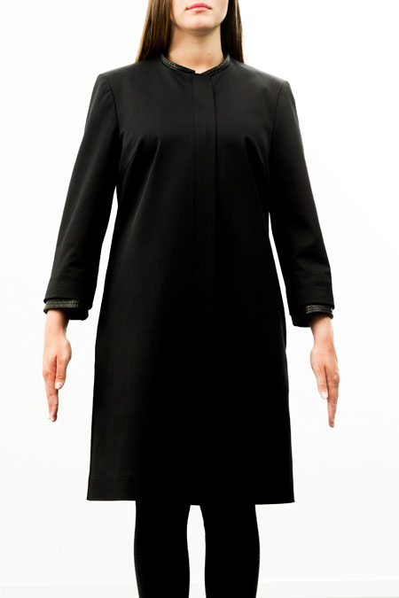 Bust-friendly coat for a ladies with a small height - front view