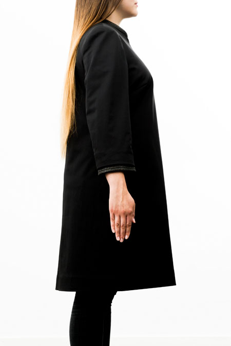 Bust-friendly coat for a ladies with a small height - side view.