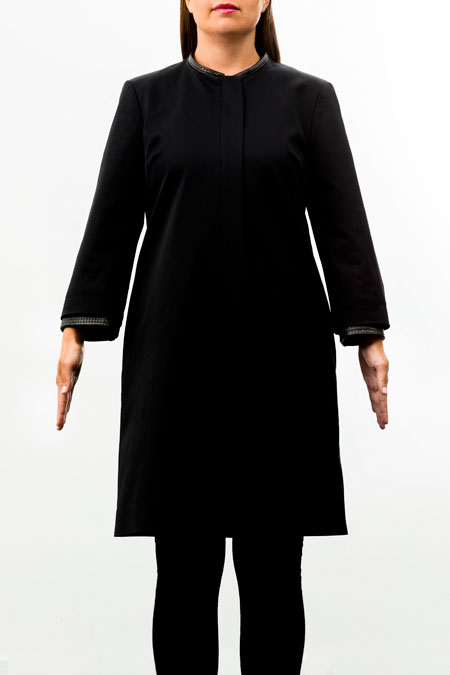 Hips-friendly coat for a ladies with a small height - front view.