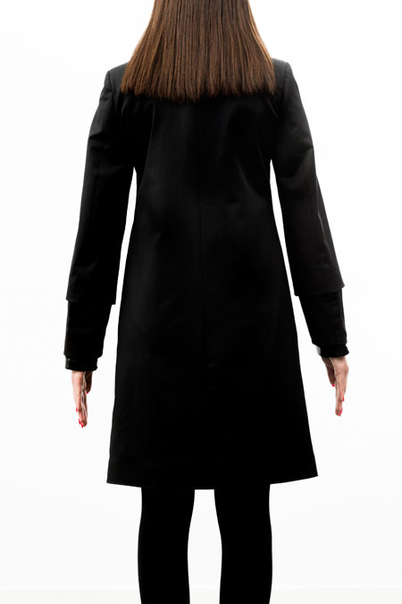 Petite-friendly coat for a ladies with a small height - from behind.