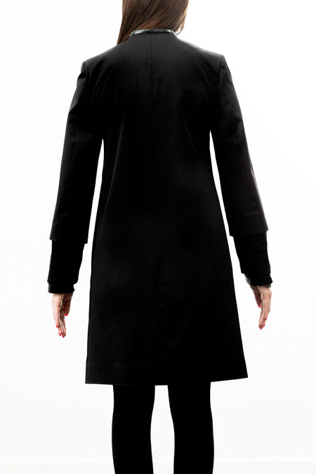 Petite-friendly coat for a ladies with a small height - back view.