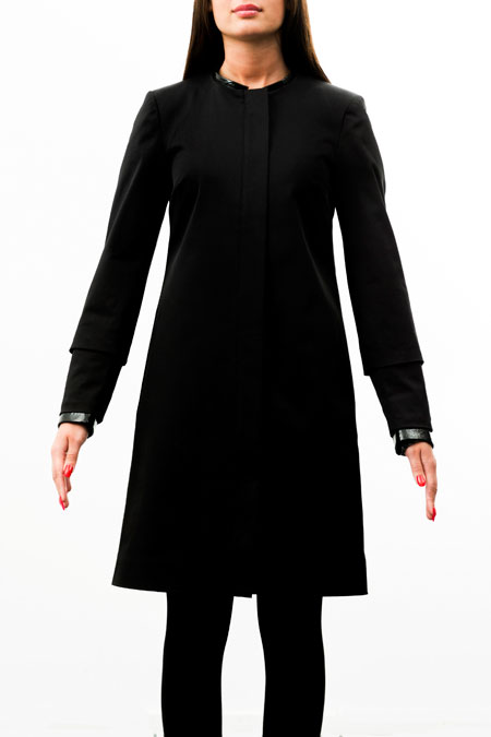 Petite-friendly coat for a ladies with a small height - front view.