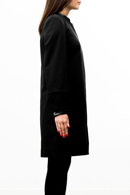 Petite-friendly coat for a ladies with a small height - side view.