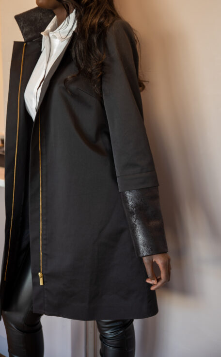 Black suede leather with black female coat