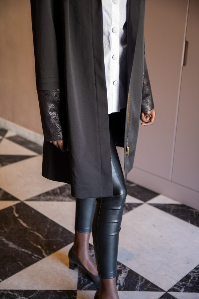 Suede leather set on black smart coat