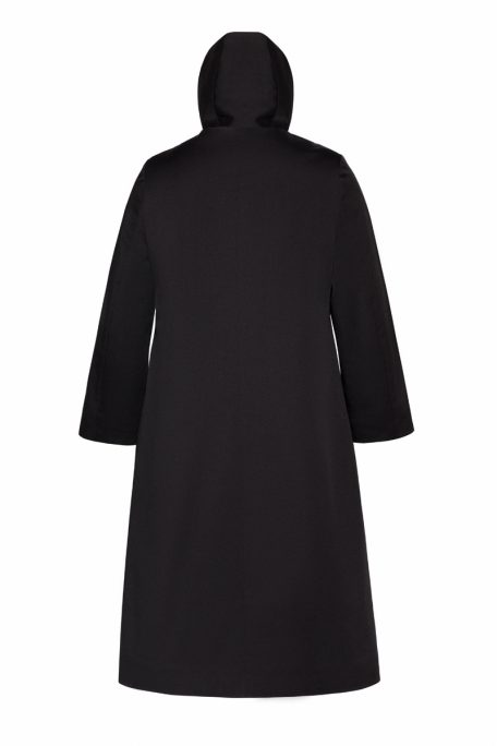 A smart coat with a detachable protective hood - back view.