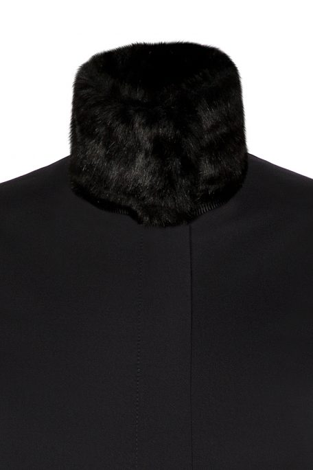 A smart coat with detachable black faux fur collar - front view.