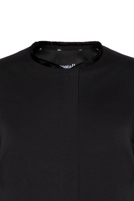 A smart coat with detachable short faux fur collar - front view.
