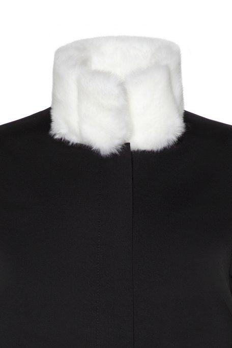 A smart coat with detachable white faux fur collar - front view.