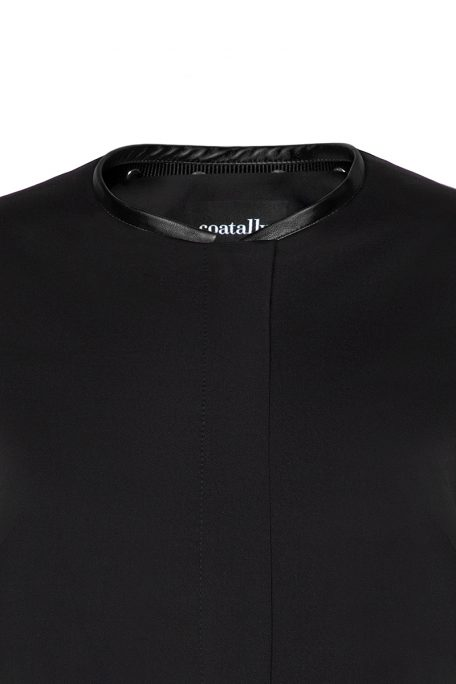 A smart coat with detachable black leather collar - front view.