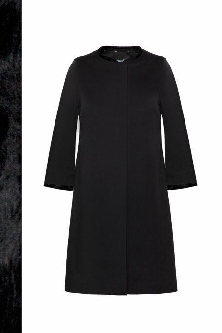 A smart coat with a detachable short faux fur set - front view.