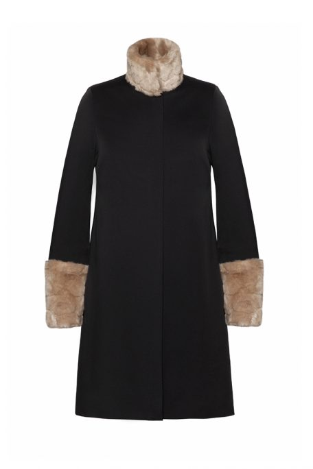 A smart coat with detachable beige faux fur sleeves and collar - front view.