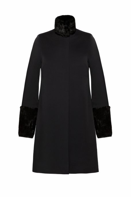 A smart coat with detachable black faux fur sleeves and collar - front view.