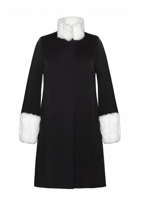 A smart coat with a detachable white faux fur sleeves and collar - front view.