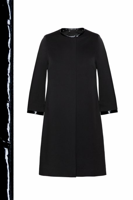 The Annie coat - a smart coat with a patent leather set - front view.
