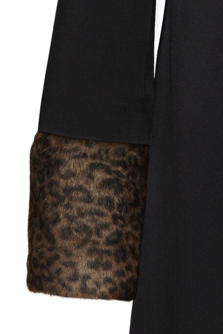 dark leopard fur sleeves for black female coat