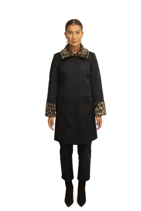 The smart female coat with leopard fur set