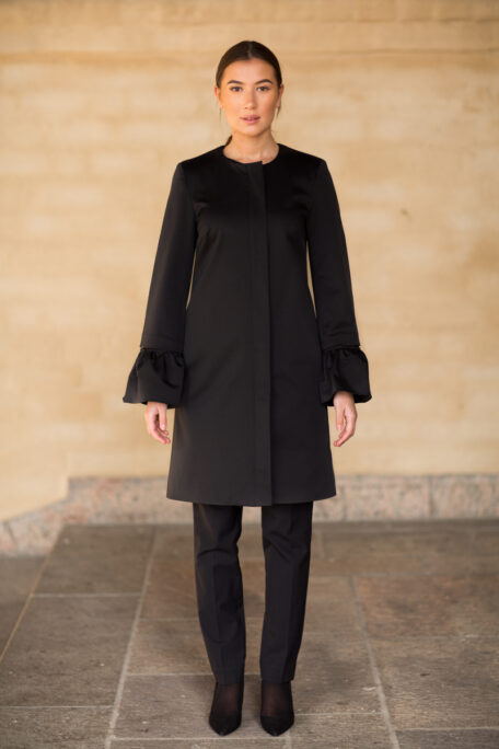 The smart coat with the flare sleeves
