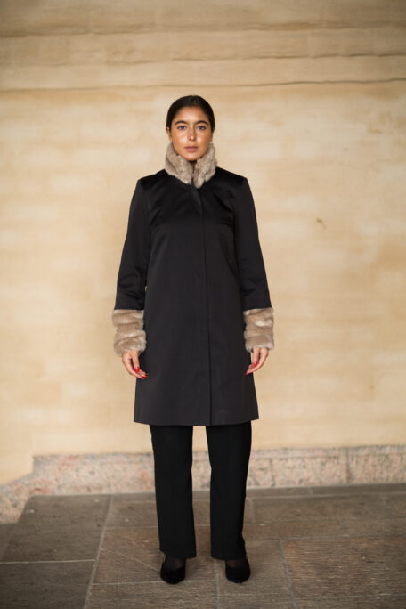 The black female coat with beige fur sleeves and collar