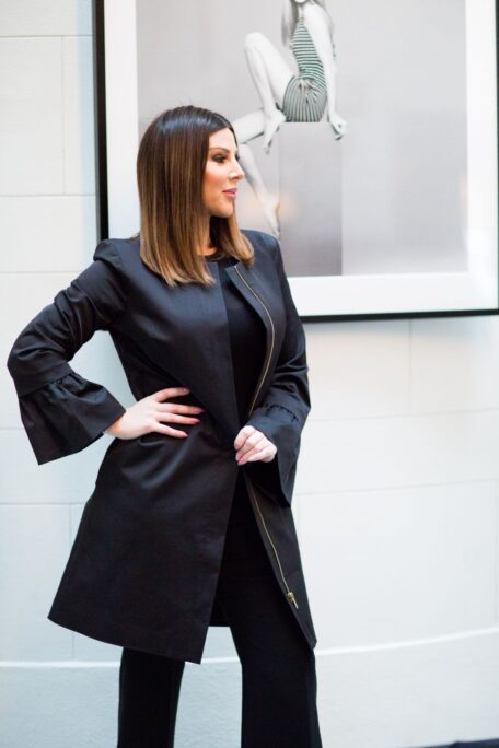 The bellcuff sleeves on the smart female coat