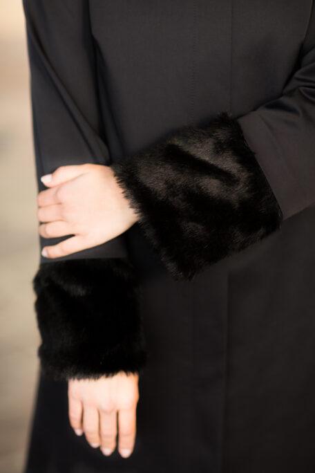 Detachable faux fur in black on female smart coat
