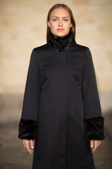 The Linn smart coat with attachable black faux fur sleeves and collar