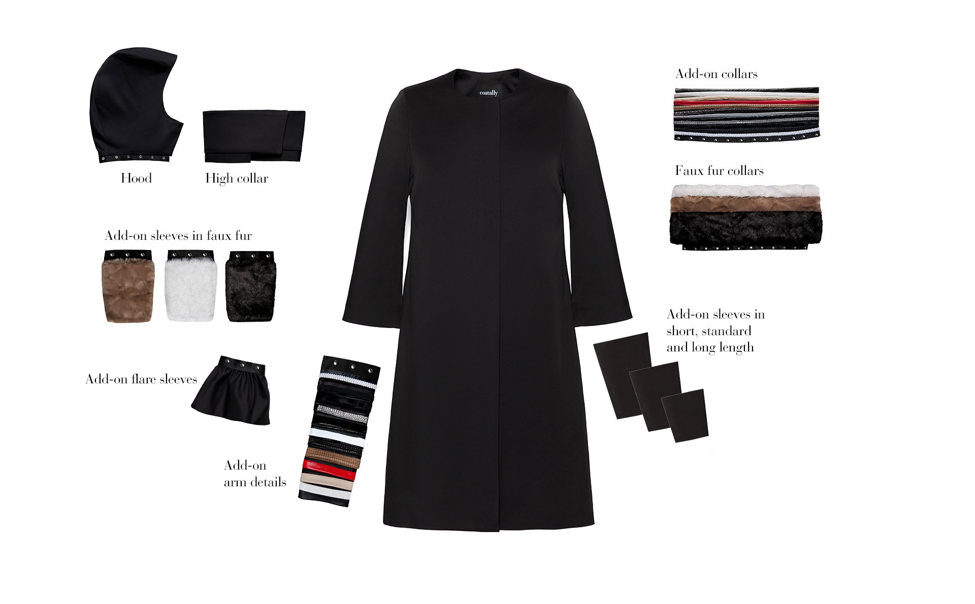 The concept: interchangeable style with one smart female coat